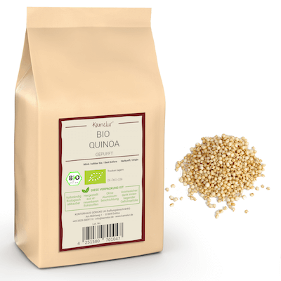 Weiße Quinoa Körner gepufft von Kamelur, ohne Zusätze