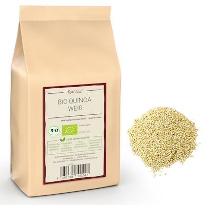Weiße Quinoa Körner in Bio-Qualität