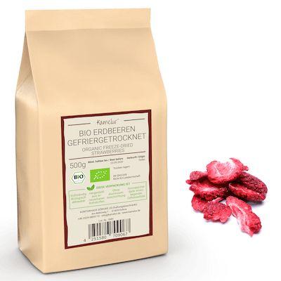 Gefriergetrocknete Bio Erdbeer Scheiben, ohne Zusätze