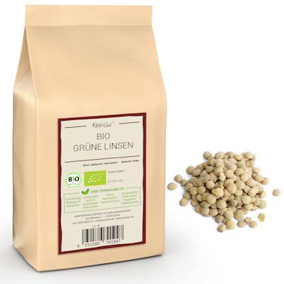 Bio Linsen grün & getrocknet, Hülsenfrüchte ohne Zusätze